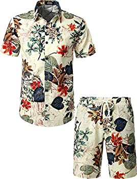 JOGAL Men s Flower Casual Button Down Short Sleeve Hawaiian Shirt Suits Large White