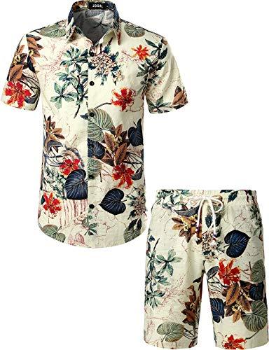 JOGAL Men's Flower Casual Button Down Short Sleeve Hawaiian Shirt Suits Medium White