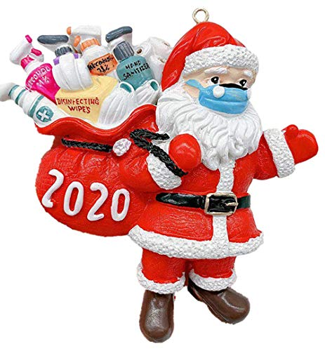 Hartser 2020 Santa Claus Ornaments, Christmas Tree Decoration Pendant, Santa Claus with Face Cover Tradition Home Decor for Family