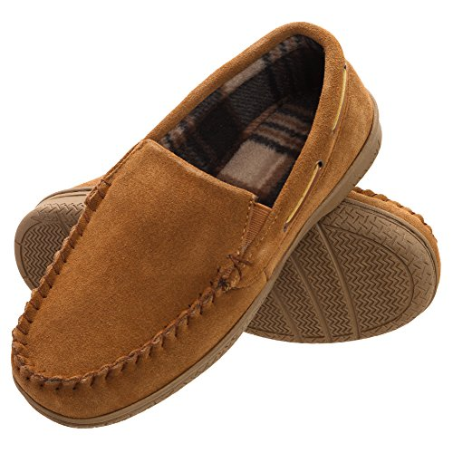 Heat Edge Mens Memory Foam Suede Slip on Indoor Outdoor Venetian Moccasin Slipper Shoe (9, Tan)