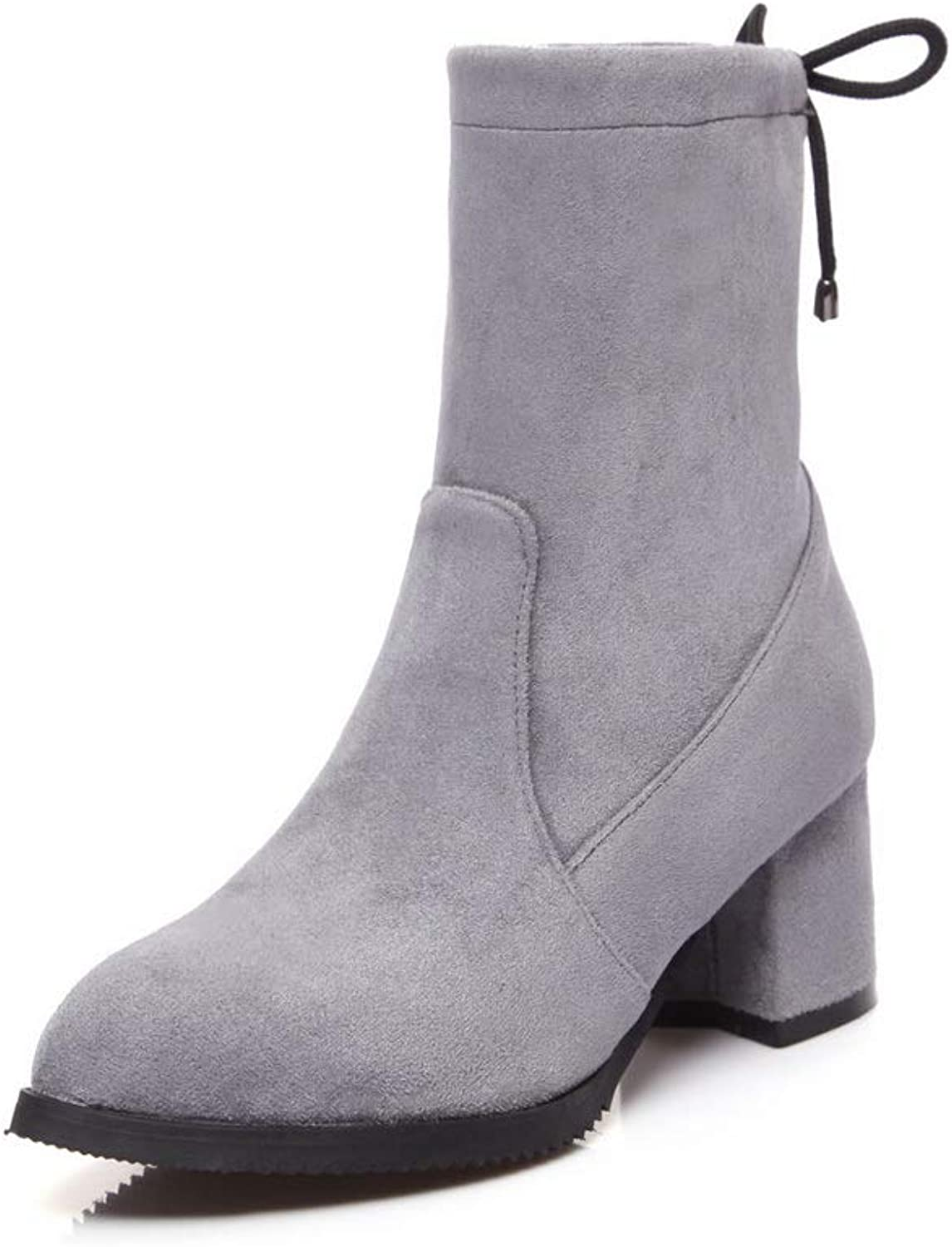 AdeeSu Womens Square Heels Chunky Heels Pointed-Toe Imitated Suede Boots SXC03361