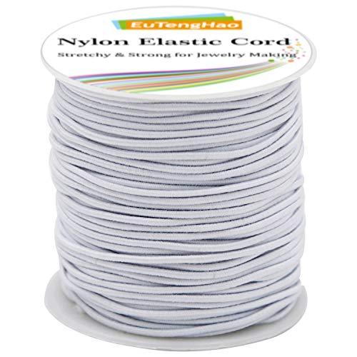 EuTengHao 2mm Nylon Elastic Cord for Bracelet Satin Nylon Decorative Cord Nylon Hand Knitting Cord String Beading Thread Bracelet Rope for Necklace Bracelet Jewelry Making (White, 55 Yards/2mm)