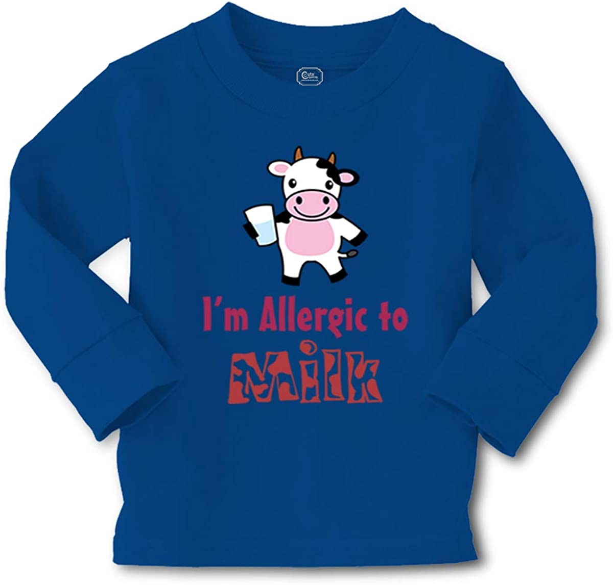 Cute Rascals Kids Long Sleeve T Shirt I'm Allergic to Milk Allergy Warning Funny Humor Cotton