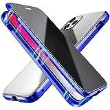 Suhctup - Carcasa de absorción magnética para iPhone 6 Plus/6S Plus, 360 grados, protección de doble cara, transparente, cristal templado, carcasa de metal antigolpes, color azul