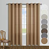 Burlap Color Rustic Living Room Curtains 95 Inches Long Grommet Set of 2 Window Curtain Panels Farmhouse Natural Primitive Textured Tan Wood Brown Faux Cotton Linen 95 in Sheer Curtains for Bedroom