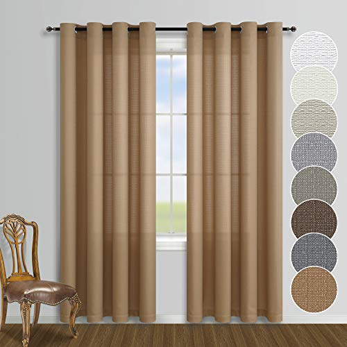 Burlap Color Semi Sheer Curtains 84 Inch Length for Living Room Decor Set 2 Window Panel Grommet Drapes Linen Cotton Textured Country Rustic Farmhouse Curtains for Bedroom Tan Brown 52x84 Inches Long