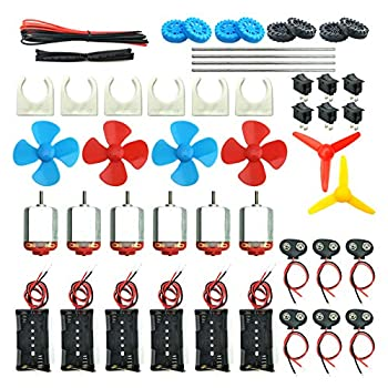 EUDAX 6 Set DC Motors Kit Mini Electric Hobby Motor 3V -12V 25000 RPM Strong Magnetic with Shaft Propeller  2 x AA Battery Holder,9V Battery Clip Connector,Plastic Wheels for DIY Science Projects