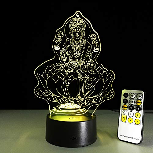 3D lamp illusie optisch LED nachtlampje Avalokitesvara illusie bedlampje 7 kleuren touchscreen bedlampje slaapkamer tafellamp Art Deco kinderen nachtlampje met USB-kabel