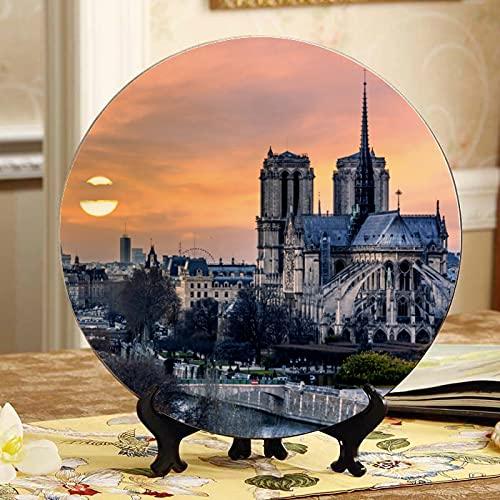 Platos decorados con decoración de Notre Dame De Paris en el atardecer, con soporte de exhibición, placa de cerámica para el hogar