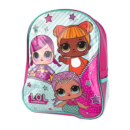 L.O.L SURPRISE! Backpack With Side Mesh Pocket for Girls and Teens Featuring Cartoon Dolls Print - Kids Bag for School Or Travel, Pink Canvas Girls Rucksack with Zipped Pocket