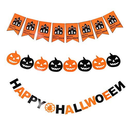 Healifty Pack of 3 Happy Halloween Pumpkin Banner Garland for Halloween Party Home Decor Supplies