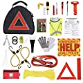 Thrive Roadside Assistance Auto Emergency Kit + First Aid Kit – Triangle Bag - Contains Jumper Cables, Tools, Reflective Safety Triangle and More. Ideal Winter Accessory for Your car, Truck, Camper from Thrive