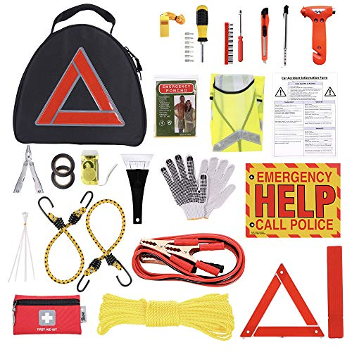 Thrive Car Emergency Kit with Jumper Cables + First Aid Kit | Auto Emergency Kit & Car Accessories | Roadside Vehicle Assistance | Car Tool Kit Bag | Road Trip Essentials