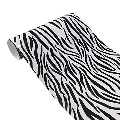 NYSCJJJ 10 * 100 cm Simulation Faux Krokodil Haut Leder Muster PVC Aufkleber Retro Riss Design Auto Auto Styling Auto Inner Wrap Film (Color : Zebra Leather)