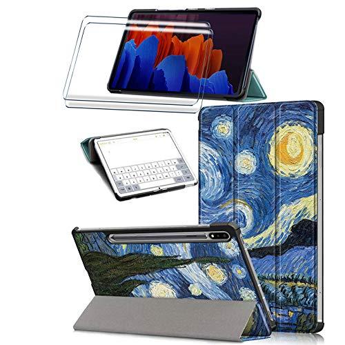 HYMY Custodia per Tablet Samsung Galaxy Tab S7+ S7 Plus 12.4  + 2 x Pellicola Protettiva - Flip Case Cover with Support Fonction per Samsung Galaxy Tab S7+ S7 Plus 12.4  T970   T975   T976-HLF