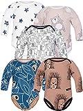 Sibinulo Jungen Mädchen Body Langarm 5er Pack Igele Schwarze Elefanten Beige Bären Marineblau trägt auf den Blättern Sterne 80(9-12 Monate)