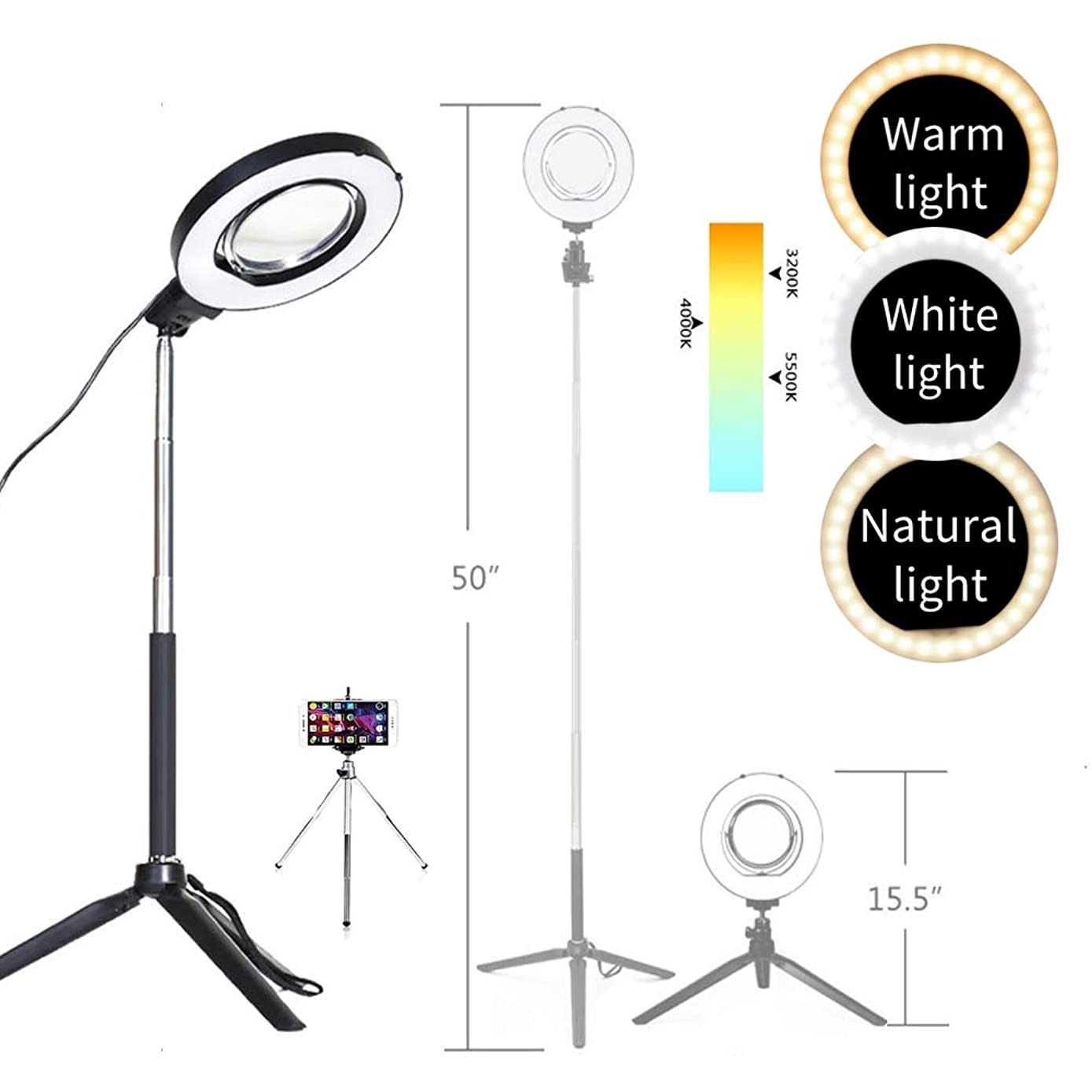 Dimmable Ring Light with Adjustable Height Light Stand,Selfie Stick and USB Plug,6