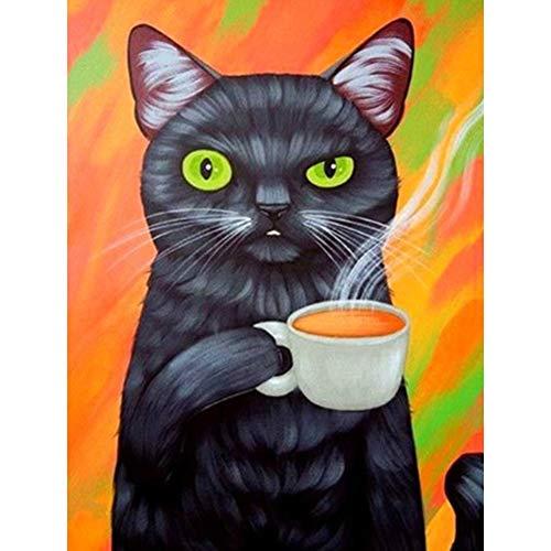 Chinkyo HuiMeiYouPinBaiHuoYouXianGongSi DIY 5D Mosaik Schwarze Katze Kaffee Full Drill Runde Diamant Harz Malerei Kit