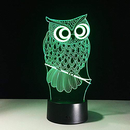 Alle soorten Uil 3D Nachtlampje RGB Verwisselbare Mood Lamp LED DC 5V USB Decoratieve Tafellamp Baby Slee Nachtlampje 7 Kleuren