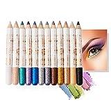 Mimore Lápiz de sombra de ojos 12 colores/juego Pluma de sombra de ojos con brillo Delineador de...