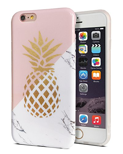 J.west iPhone 6/6S Case Slim-Fit Ultra-Thin Anti-Scratch Shock Proof Dust Proof Anti-Finger Print Soft Flexible TPU Case for iPhone 6/iPhone 6S (4.7 inch) - Marble Gold Pineapple