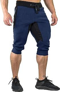 FASKUNOIE Men's Cotton Casual shorts 3/4 Jogger Capri...