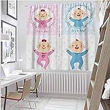 Toopeek - Cortina aislada para recién nacidos con diseño de corazones (42 x 36 cm), color rosa pálido y azul cielo