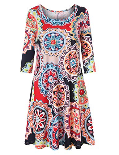 Summer Long Tunic Tops for Women, Misyula Floral Swing Print Dresses Tunic 3 4 Sleeve Crew Neck Dress with Pockets Comfy Stretchy 90s Babydoll Modest Vintage Loose Tunic Shirt Halloween Dress Green M