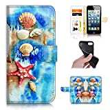 for iPhone 8 Plus, iPhone 7 Plus, Designed Flip Wallet Phone Case Cover, A22002 Beach Shell Starfish Blue Sea 22002