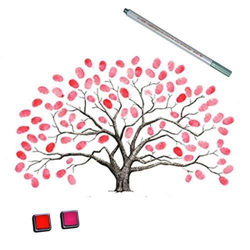 EQLEF Los 30X40CM de la boda de la huella digital Libro árbol, huella digital Tree Guest Firma libro Árbol de bricolaje fuentes de la boda