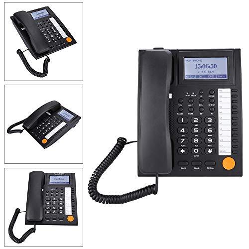 ASHATA Teléfono Fijo Analógico Teléfono de Sobremesa con Cable(Pantalla LCD/Botones Grandes/Cancelación de Ruido/Identificador de Llamadas)(Negro)