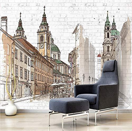 Handgeschilderd Europese Stad Grote Muren Koffie Winkel Restaurant Slaapkamer Baksteen Wanddecoratie Art Mural Aangepaste Photo Wall Paper 350 x 245 cm.