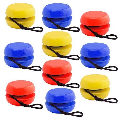 Partituki Confezione da 10 Yoyos in Legno di Colori Vivaci. Ottima Idea per i Dettagli della Festa di Compleanno per Bambini e Regali per Bambini