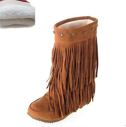 ZHRUI Les Femmes enfilent des Bottes Confortables Confortables à mi-Mollet avec des Chaussures Chaudes d'hiver de Rivet pour Fashioon rue Girls Outdoor (Couleuré   jaune Plush, Taille   7.5 UK)  en ligne au meilleur prix