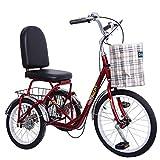 Triciclo para adultos, Adulto Triciclos 3 Rueda De Bicicleta, De Tres Ruedas Bici Del Crucero Ciclismo Pedal Triciclo Con Carrito, Bicicletas Mayores Trikes Mujer Hombre for La Recreación, Compras, Ej