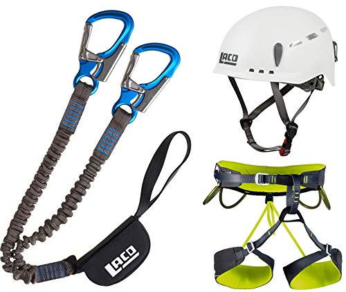 LACD Klettersteigset Pro + Klettergurt Camp Größe M + Helm Protector 2.0 White