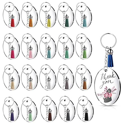 Yousiju Catena chiave rotonda, catena chiave acrilica trasparente Blank e nappa portachiavi a sospensione per FAI DA TE Progetti (Color : A, Size : One size)
