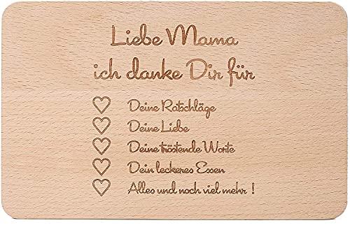 Frühstücksbrettchen aus Holz, Brotzeitbrett mit Gravur, 22 × 14 × 1 cm Schneidebrett für Mama, Tolles Muttertagsgeschenk