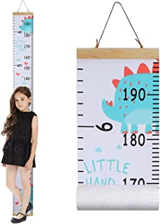 Growth Chart for Kids,Canvas & Wood Handing Removable Wall Ruler, Cartoon Height Measurement, Scale, Ruler for Nursery, School and Kid Room Wall Decor(Dinosaur)
