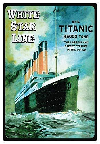 Blechschild 20x30cm gewölbt Werbe Plakat Schiff White Star Line Titanic Deko Geschenk Schild