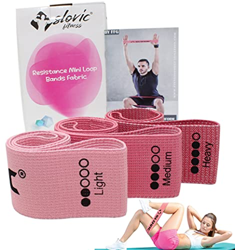 SLOVIC Fabric Resistance Band|Resistance Mini Loop Bands for Workout for Men, Women with Exercise Bands Workout Guide for Strengthening and Toning Glutes, Hips, Thigs, Legs. (3 Pack, Pink)