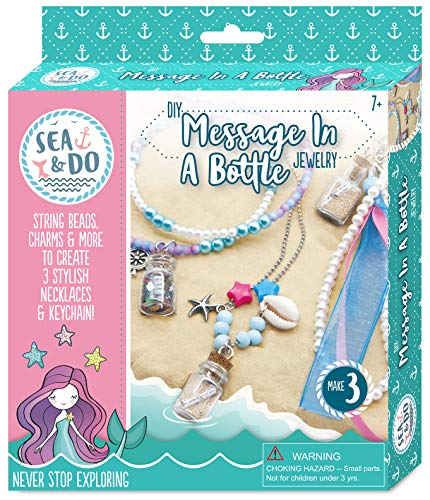 Sea & Do DIY Message in a Bottle Jewelry Making Kit for Tweens by Bright Stripes - Necklace Making Kit for Girls 7 to 12