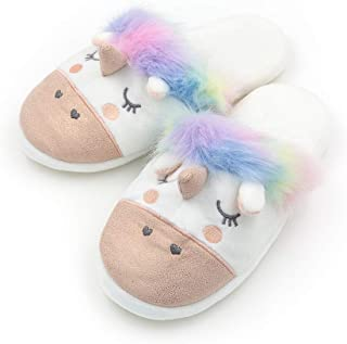 Eternity J. Womens Warm Indoor Slippers Fleece Plush Unicorn Animal Slip-on House Bedroom Winter Shoes