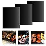 Tapis de Cuisson, 3 pièces Feuille de Cuisson de 33x40 cm Anti-adhésif, Réutilisables et Nettoyage Facile pour Barbecue et Four ( Noir )