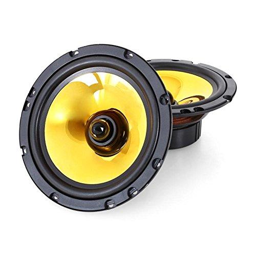 auna Goldblaster 6.5-3-Wege-Koaxial-Boxen, Auto Einbau-Lautsprecher Paar, 600 Watt max, 2x16,5cm-Boxen, schwarz-Gold