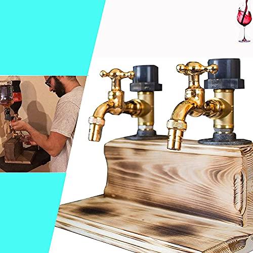 wsbdking Dispensador de madera de whisky de alcohol, toque del dispensador de whisky, titular de la botella del dispensador de licor-día de padre licor de alcohol whisky madera de parada de madera dis