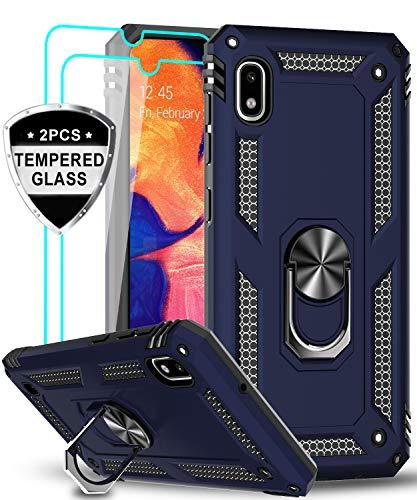 LeYi für Samsung Galaxy A10/Galaxy M10 Hülle mit Panzerglas Schutzfolie(2 Stück),360 Grad Ring Halter Handy Hüllen Cover Magnetische Bumper Schutzhülle für Case Samsung Galaxy A10 Handyhülle Blau