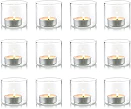 Nuptio Clear Glass Votive Candle Holders Set, Glass, Shot Glass Large Size, 12 Pcs