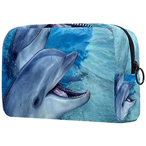 Kosmetiktasche Make-up Taschen für Frauen, kleine Make-up Tasche Reisetaschen für Toilettenartikel - Dolphin Encounter