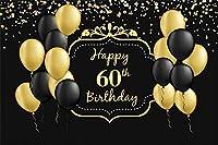 新しいハッピー60歳の誕生日の背景7x5ftブラックとゴールドのバルーンキラキラドット写真の背景60歳の母の男性女性60歳の誕生日の写真お祝い画像boothプロップデジタル壁紙
